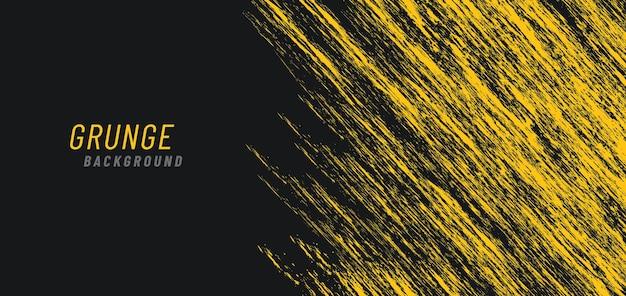Abstracte dynamische heldere gele grungy op donkere achtergrond. Premium Vector