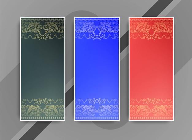 Abstracte elegante kleurrijke geplaatste banners Gratis Vector