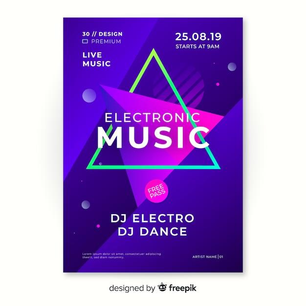 Abstracte elektronische muziek poster sjabloon Gratis Vector