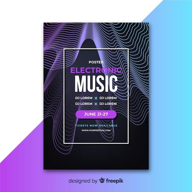 Abstracte elektronische muziekaffiche met golvenmalplaatje Gratis Vector