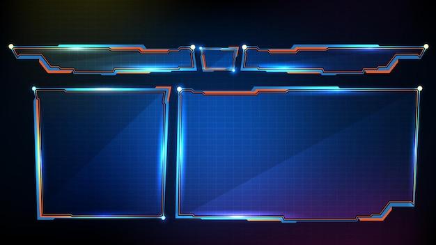 Abstracte futuristische achtergrond met blauw gloeiend frame Premium Vector