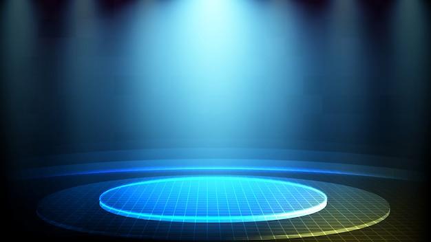 Abstracte futuristische achtergrond van het blauwe gloeiende hologram van de stadium lichte technologie Premium Vector