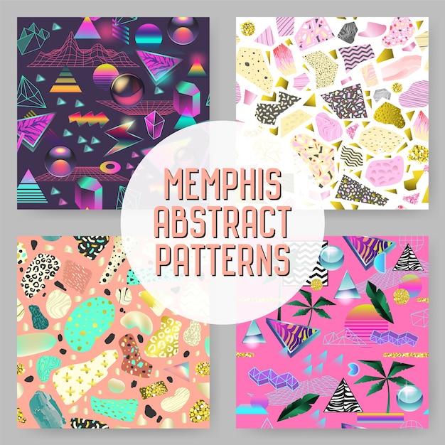 Abstracte futuristische naadloze patronen instellen. geometrische vormen met gouden elementen achtergrond. vintage hipster fashion 80s-90s design. Premium Vector