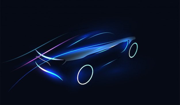 Abstracte futuristische neon gloeiende illustratie Premium Vector