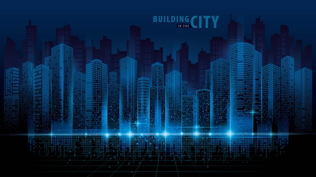Abstracte futuristische stad vector, digitale stadsgezicht achtergrond. transparant stadslandschap Premium Vector