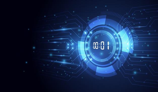 Abstracte futuristische technische achtergrond met digitale nummertimer en aftellen Premium Vector