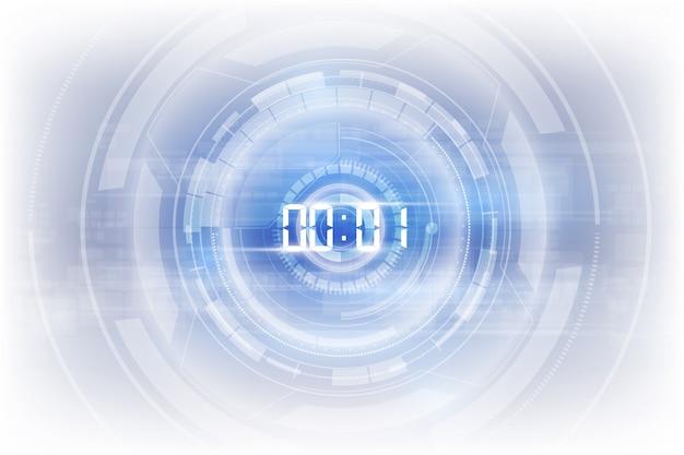 Abstracte futuristische technologie achtergrond met digitale nummer timer c Premium Vector