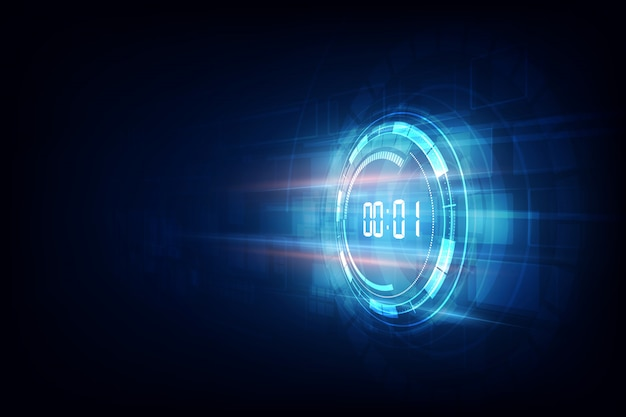 Abstracte futuristische technologie achtergrond met digitale nummer timer concept en countdown, vector transparant Premium Vector