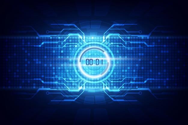 Abstracte futuristische technologie achtergrond met digitale nummer timer Premium Vector