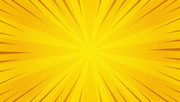 Abstracte gele komische zoom Gratis Vector