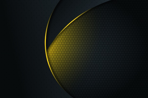 Abstracte gele lichte lijnkromme op donkergrijze lege ruimteontwerp moderne futuristische achtergrond Premium Vector