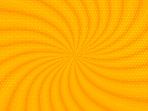 Abstracte gele stralenachtergrond met halftone ontwerp Gratis Vector