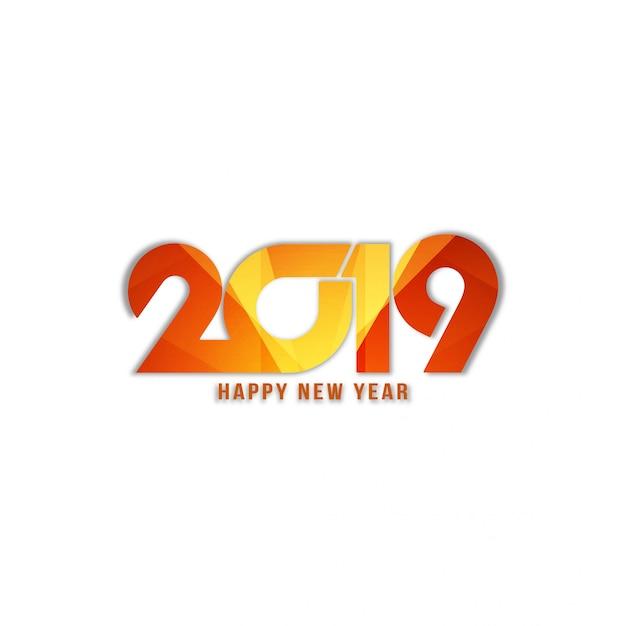 Abstracte gelukkig nieuwjaar 2019 stijlvolle tekst op de achtergrond Gratis Vector