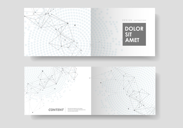 Abstracte geometrische achtergrond met aaneengesloten lijnen en punten. cover van technologiebrochure Premium Vector