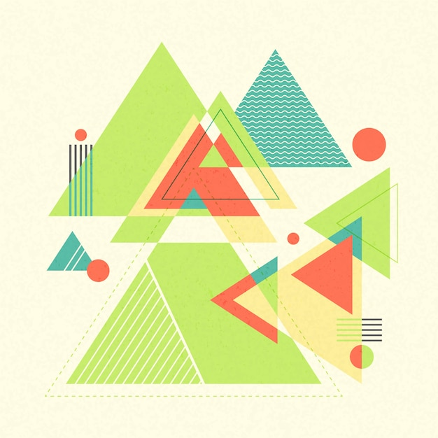 Abstracte geometrische achtergrond. retro chaotische geometrische vormen, driehoeken. Premium Vector
