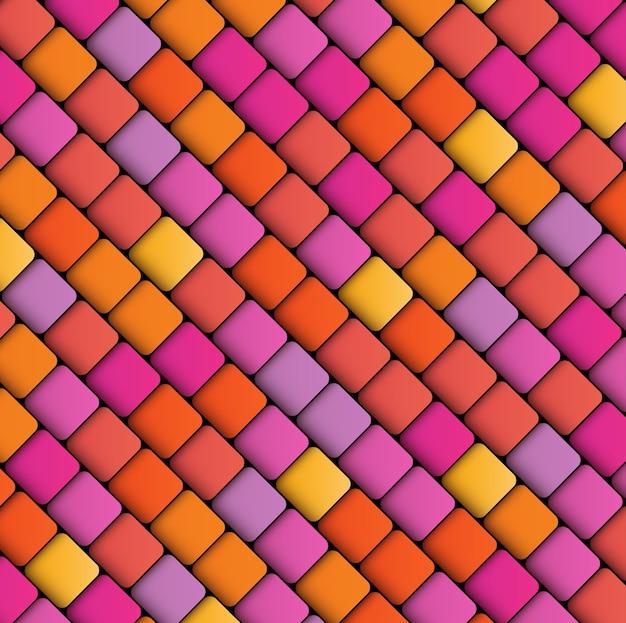 Abstracte geometrische achtergrond van vierkanten, veelkleurig patroon in warme kleuren Premium Vector