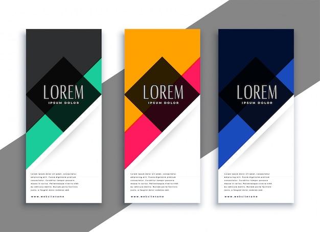 Abstracte geometrische banners in verschillende kleuren Gratis Vector