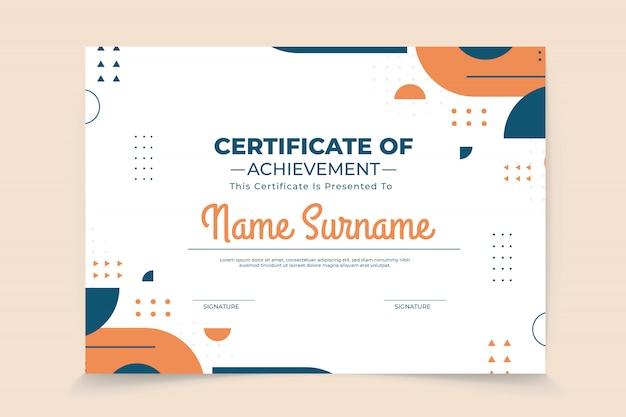 Abstracte geometrische certificaatsjabloon Premium Vector