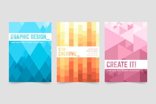 Abstracte geometrische cover-collectie Gratis Vector