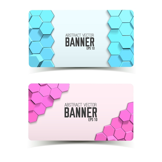 Abstracte geometrische horizontale banners met blauwe en roze zeshoeken Gratis Vector