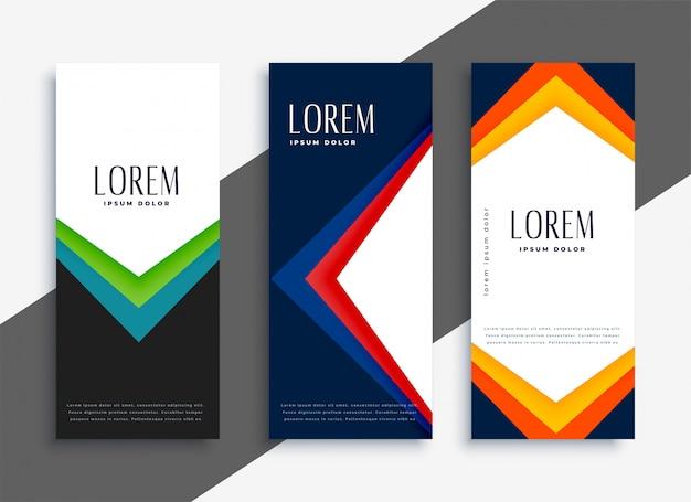 Abstracte geometrische kleurrijke banners instellen Gratis Vector