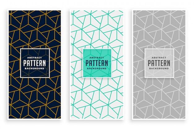 Abstracte geometrische lijnen patroon banners instellen Gratis Vector