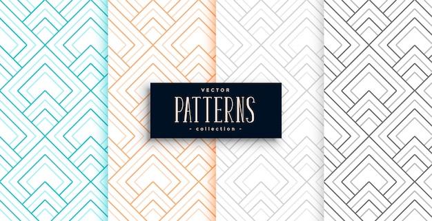 Abstracte geometrische patronen in vier kleuren Gratis Vector