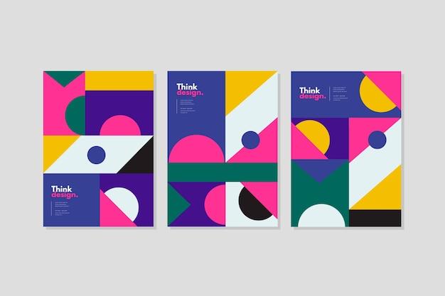 Abstracte geometrische patronen voorbladsjabloon Gratis Vector