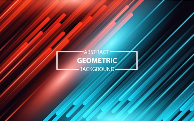 Abstracte geometrische rode en blauwe lichte achtergrond Premium Vector