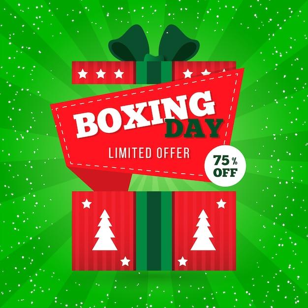 Abstracte geschenkdoos met bomen voor tweede kerstdag verkoop Gratis Vector