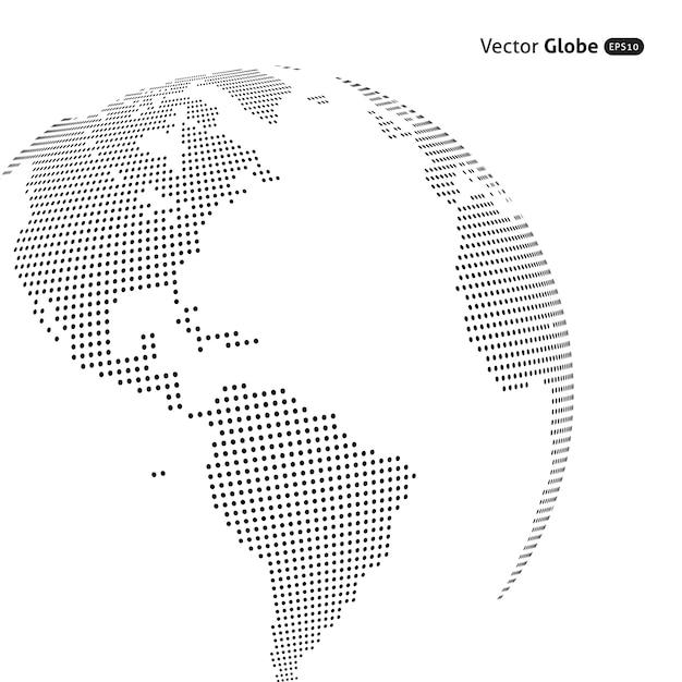 Abstracte gestippelde bol, centrale verwarming uitzicht over noord- en zuid-amerika Premium Vector