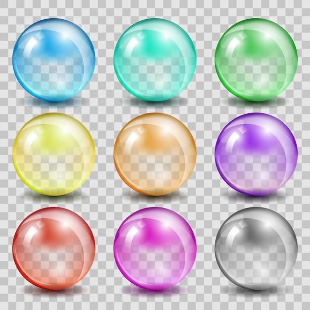 Abstracte glazen kleur bollen. bal glanzend transparant, bellenreflectie en glanzend Gratis Vector