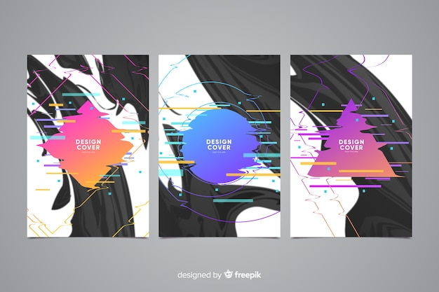 Abstracte glitch effect cover-collectie Gratis Vector
