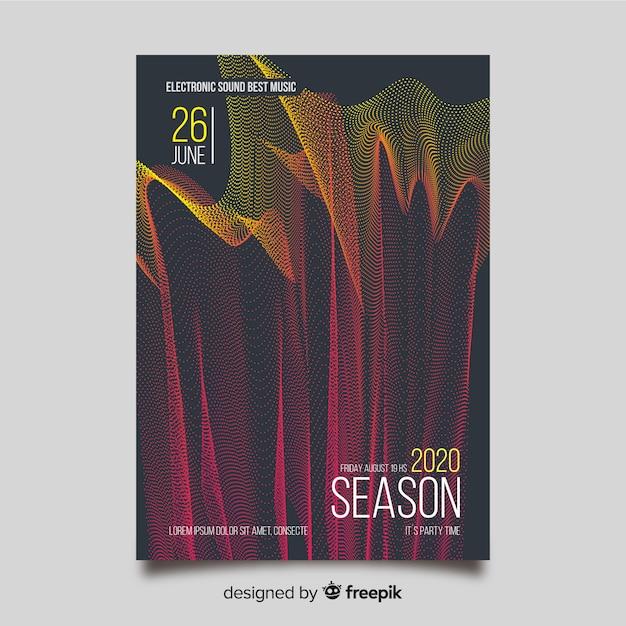 Abstracte golf elektronische muziek poster sjabloon Gratis Vector