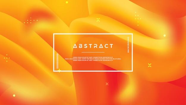 Abstracte golfstroomachtergrond met gele en oranje kleur. Premium Vector