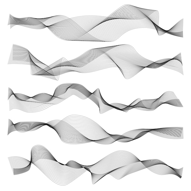 Abstracte golven. grafische lijn sonische of geluidsgolfelementen, golvende textuur op witte achtergrond Premium Vector