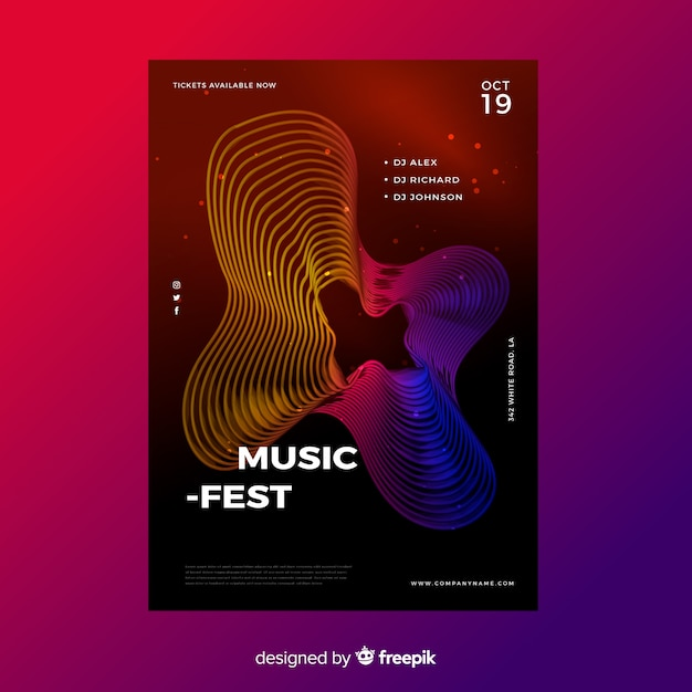 Abstracte golven muziek poster sjabloon Gratis Vector
