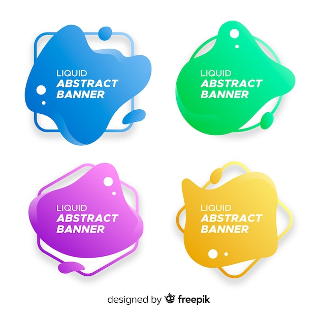 Abstracte golvende bannerinzameling Gratis Vector