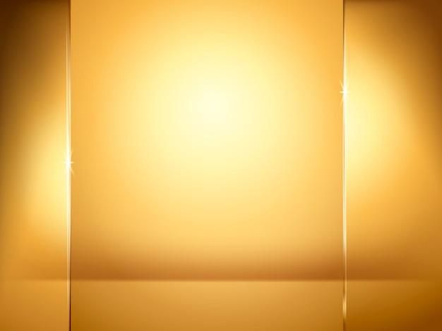 Abstracte gouden achtergrond, verlichting en glasplaatelementen in illustratie Premium Vector