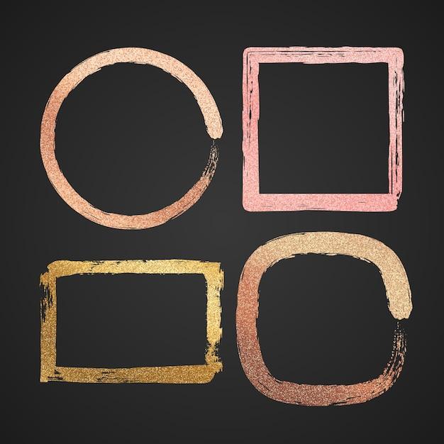 Abstracte gouden en roze geïsoleerde de verfframes van de metaal glanzende vectorgrens. rond het textuurkader en vierkant schittert de illustratie van de fonkelingsslag Premium Vector
