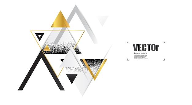 Abstracte gouden geometrische achtergrond met driehoeken. Premium Vector