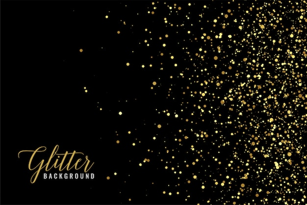 Abstracte gouden glitter schittering op zwart Gratis Vector
