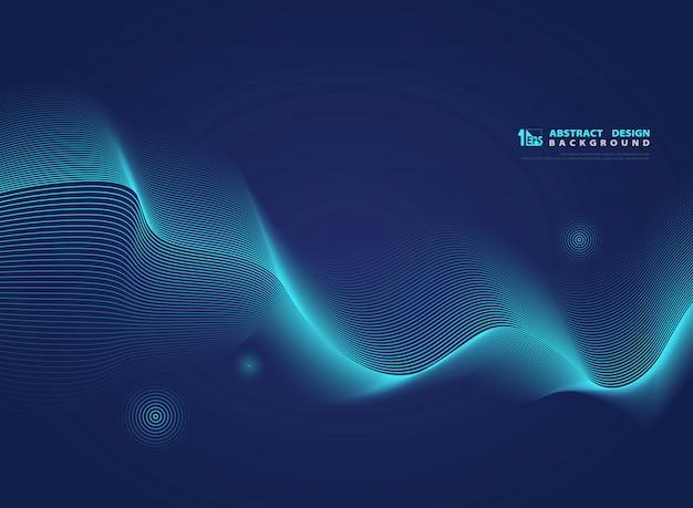 Abstracte gradiënt blauwe golvende lijn moderne wetenschap. Premium Vector