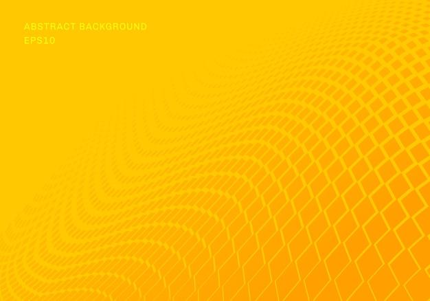 Abstracte gradiënt gele vierkanten golf achtergrond Premium Vector