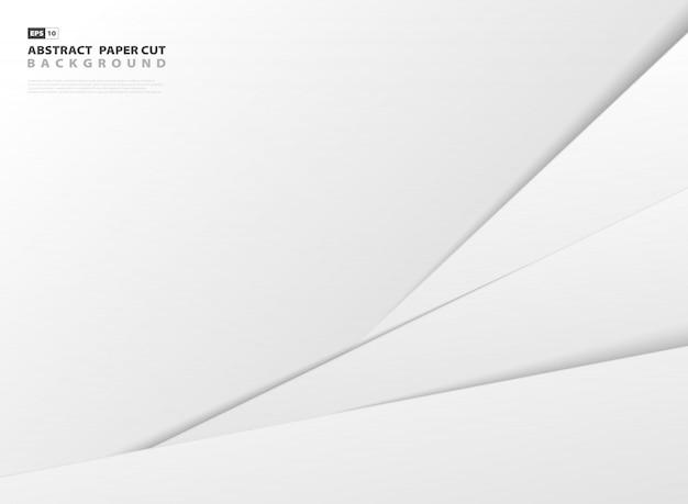 Abstracte gradiënt grijs en witboek gesneden stijl sjabloon achtergrond. Premium Vector