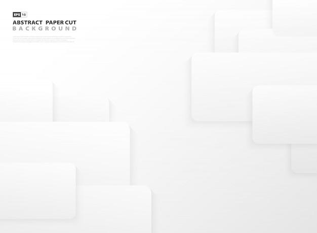 Abstracte gradiënt grijze en witte vierkante de ontwerpachtergrond van het patroonontwerp. Premium Vector