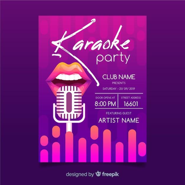 Abstracte gradiënt karaoke poster sjabloon Gratis Vector