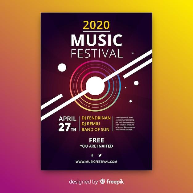 Abstracte gradiënt muziek poster sjabloon Gratis Vector
