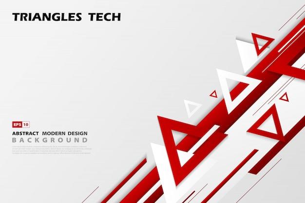 Abstracte gradiënt rode driehoeken tech overlapping van futuristische patroonstijl. Premium Vector