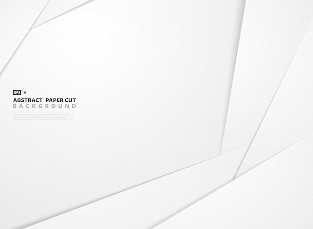 Abstracte gradiënt witboek gesneden vorm patroon ontwerp achtergrond. Premium Vector